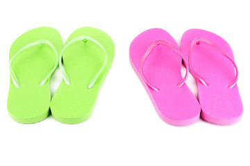 Bright flip-flops isolated on white