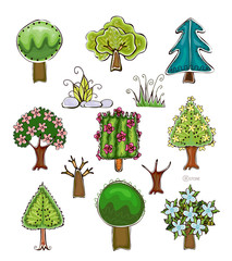 Decorative trees set, plants, flowers and grass
