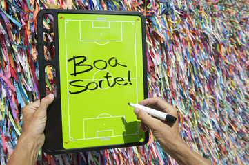 Good Luck Message on Football Tactics Board Wish Ribbons Brazil