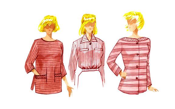 Fashion model female blouses. Options