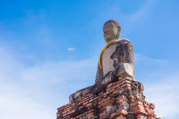seated buddha with sky