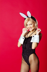young beautiful woman in rabbit costume