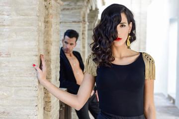 Beautiful couple, models of fashion, wearing spanish clothes