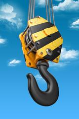 Crane hook on the sky background. 3d