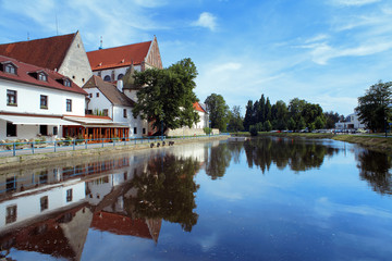 River behind the Church in Ceske Budejovice