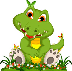 cute crocodile cartoon sitting in flower garden