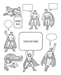 Male superhero icons sketch