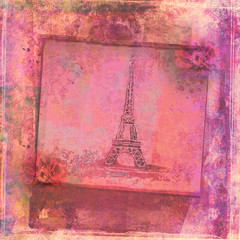 Eiffel tower - vintage abstract card