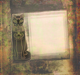 Stylized Egyptian cat , grunge frame