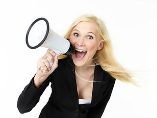 Business woman shouting loud through megaphone