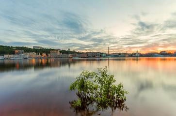 Evening cityscape with river. Ukraine. Kiev.