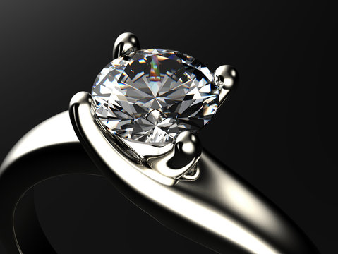 Ring with diamond isolated on gray background