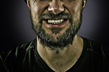Closeup portrait of a man having a nervous crisis