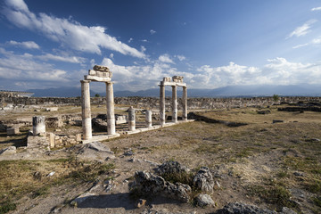 Ruins on ancient city in Hierapolis, Pamukkale, Turkey