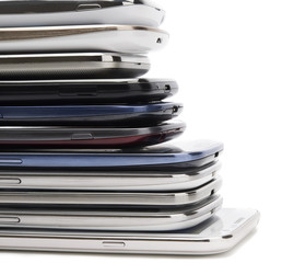 Bunch of mobile phones with space for your text