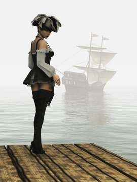 Fantasy pirate girl on dock