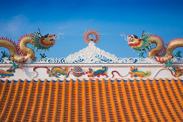 Beautiful dragon roof of Chinese temple