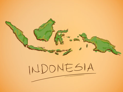 Indonesia Map Sketch Vector