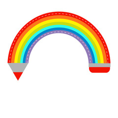 Colored pencil in shape of rainbow. Isolated. Flat design.