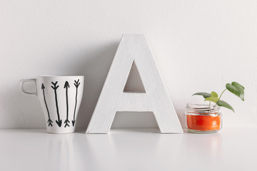 Diy decoration on white background.