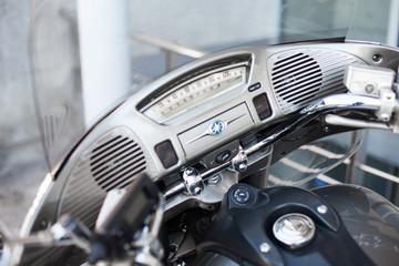Vintage motorcycle dashboard close-up