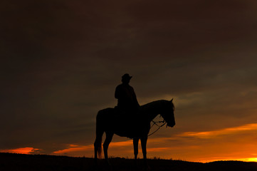 Zelfklevend Fotobehang Diepbruine Einsamer Reiter im Sonnenuntergang