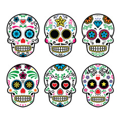 Mexican sugar skull, Dia de los Muertos icons set on white