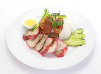 red pork with steamed rice and boil egg