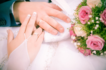 wedding couple arms with rings