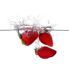 Fresh Strawberries Splash in Water Isolated on White. Bio Food