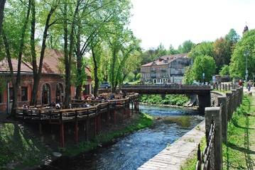 River Vilnele ant Uzupis in Vilnius. Lithuania