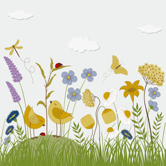 Floral background with birds, butterflies and flowers