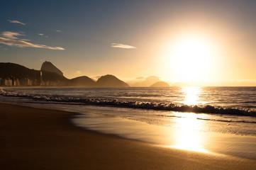Wall Mural - Sunrise in Copacabana Beach in Rio de Janeiro, Brazil