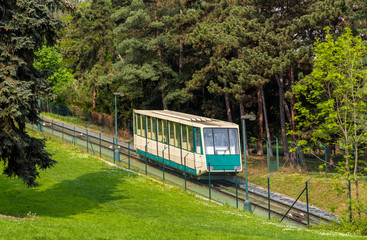 A funicular car in Prague