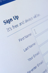 Close up view of sign up form