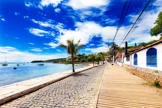 Small cobbled street on seaside in Buzios, Brazil