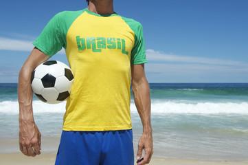 Brazilian Soccer Player Holding Football Brazil Beach
