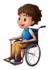 A young boy riding on a wheelchair
