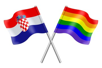 Flags : Croatia and rainbow