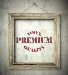 Premium quality emblem in old wooden frame