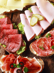 Array of tasty assorted open sandwiches