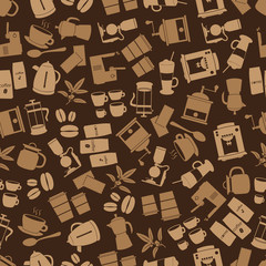 coffee icons brown seamless pattern eps10