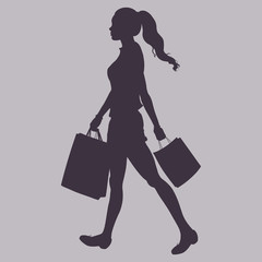 Vector Silhouette - girl goes shopping