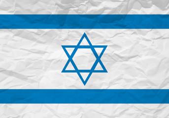 Israel flag crumpled paper