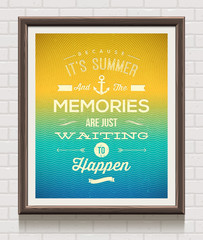 Vector vintage poster with summer vacation quote