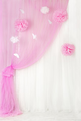 Curtains pink background, blank interior room for girl