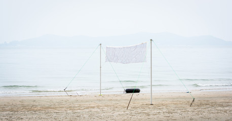 beach volleyball net on beach