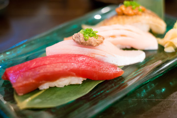 Close up nigiri sushi set