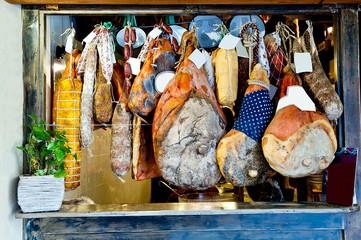 hanging Italian meats delicacies