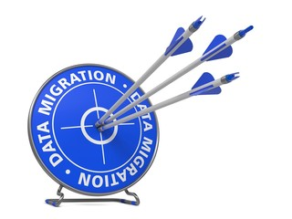 Data Migration Concept - Hit Blue Target.